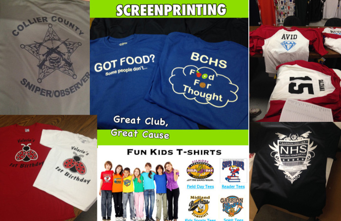 Screen Printed Short Sleeve T-Shirts in and near Florida